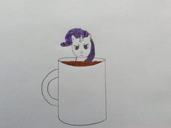 Size: 2592x1936 | Tagged: safe, artist:epicalaxy master, rarity, pony, cup of pony, hot chocolate, marshmallow, micro, mug, rarity is a marshmallow, solo, traditional art