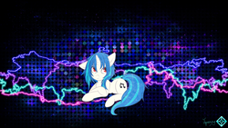 Size: 2732x1536 | Tagged: safe, artist:jamesg2498, artist:shelmo69, artist:sorenbrian, dj pon-3, vinyl scratch, pony, unicorn, abstract background, cutie mark, electricity, female, hooves, horn, lying down, mare, red eyes, smiling, solo, vector, wallpaper, watermark