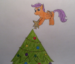 Size: 1524x1312 | Tagged: safe, artist:epicalaxy master, scootaloo, christmas lights, christmas ornament, christmas tree, decorating, decoration, drawing, flying, scootaloo can fly, stars, traditional art, tree
