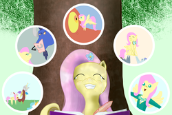 Size: 1536x1024 | Tagged: safe, artist:drjhordan, basil, discord, fluttershy, iron will, princess celestia, dragon, dragonshy, filli vanilli, hurricane fluttershy, keep calm and flutter on, putting your hoof down, badass, crying, female, flutterbadass, goggles, group, happy, journal, male, newbie artist training grounds, pointy ponies, ponytones outfit, smiling, tears of joy