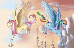 Size: 5100x3300 | Tagged: artist:goddess-of-gales, canterlot, fluttershy, flying, rainbow dash, safe, unshorn fetlocks