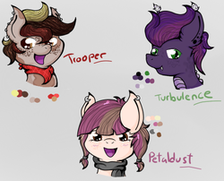 Size: 501x405 | Tagged: safe, artist:bl4z1ng-sh4d0ws, featherweight, oc, oc:petaldust, oc:trooper, oc:turbulence, dracony, hybrid, cutie mark crusaders, interspecies offspring, offspring, parent:apple bloom, parent:featherweight, parent:pipsqueak, parent:scootaloo, parent:spike, parent:sweetie belle, parents:pipbloom, parents:scootaweight, parents:spikebelle, portrait, simple background