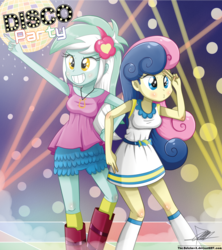 Size: 1259x1418 | Tagged: safe, artist:the-butch-x, bon bon, lyra heartstrings, sweetie drops, equestria girls, cute, dancing, disco, disco ball, disco dance, duckface, duo, duo female, female, grin, signature, smiling