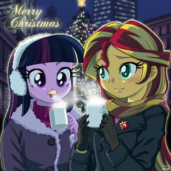 Size: 1000x1000   Tagged: safe, artist:uotapo, sunset shimmer, twilight sparkle, equestria girls, blushing, christmas, christmas lights, clothes, cold, cup, cute, earmuffs, female, gloves, holiday, hot chocolate, jacket, messy, mug, night, open mouth, scarf, shimmerbetes, smiling, twiabetes, twilight sparkle (alicorn), uotapo is trying to murder us, winter, winter outfit