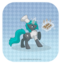 Size: 2500x2559 | Tagged: artist:mysweetqueen, chef, cookie, male, oc, oc only, oc:zero, pony, safe, stallion, unicorn