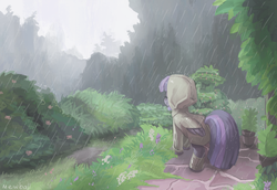Size: 1280x881 | Tagged: safe, artist:mewball, twilight sparkle, alicorn, pony, boots, eyes closed, female, mare, rain, raincoat, smiling, solo, twilight sparkle (alicorn)