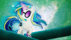 Size: 2560x1440   Tagged: safe, artist:rdbrony16, artist:theshadowstone, dj pon-3, vinyl scratch, pony, unicorn, cutie mark, female, glowing horn, hooves, horn, magic, mare, rainbow power, rainbow power-ified, smiling, solo, space, sunglasses, vector, wallpaper