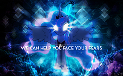 Size: 2560x1600 | Tagged: dead source, safe, artist:kibbiethegreat, artist:theshadowstone, princess luna, alicorn, pony, collaboration, female, glowing eyes, looking at you, mare, quote, solo, vector, wallpaper, watermark