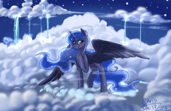 Size: 4000x2600 | Tagged: safe, artist:xcopyen002, princess luna, absurd resolution, bedroom eyes, blushing, cloud, cloudy, constellation, cute, female, missing accessory, night, raised leg, smiling, solo, spread wings, stars, waterfall