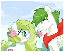 Size: 1024x827 | Tagged: safe, artist:xwhitedreamsx, oc, oc:gracidea, pony, shaymin, blushing, crossover, female, flower, flower in hair, male, mare, pokémon, ponified, stallion