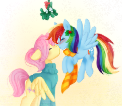 Size: 1733x1500 | Tagged: dead source, safe, artist:orbis93, fluttershy, rainbow dash, butterdash, butterscotch, christmas, clothes, female, flutterdash, half r63 shipping, hearth's warming, kissing, lesbian, male, mistletoe, rule 63, shipping, straight, sweater, sweatershy