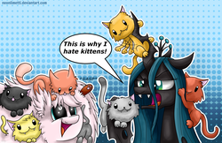 Size: 1850x1200 | Tagged: safe, artist:neoncel, queen chrysalis, oc, oc:fluffle puff, cat, changeling, changeling queen, pony, abstract background, female, kitten