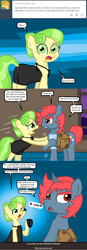 Size: 497x1422 | Tagged: safe, artist:ficficponyfic, chickadee, ms. peachbottom, oc, oc:quasar, alternate hairstyle