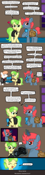Size: 498x1924 | Tagged: safe, artist:ficficponyfic, chickadee, ms. peachbottom, oc, oc:quasar, alternate hairstyle, blushing, camera