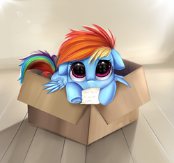 Size: 2733x2550 | Tagged: safe, artist:pridark, rainbow dash, pegasus, pony, fanfic:my little dashie, box, bronybait, cute, dashabetes, eye reflection, female, filly, filly rainbow dash, hnnng, looking at you, mouth hold, package, pony in a box, pridark is trying to murder us, reflection, solo, underhoof, weapons-grade cute