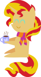 Size: 1232x2324 | Tagged: safe, artist:v0jelly, sunset shimmer, pony, unicorn, clothes, hot chocolate, mug, pointy ponies, scarf, simple background, solo, transparent background, vector