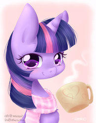 Size: 1550x2000 | Tagged: safe, artist:mrsremi, twilight sparkle, clothes, cup, hot chocolate, scarf, smiling, solo, wingding eyes