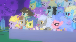 Size: 1280x720 | Tagged: safe, screencap, bruce mane, caesar, count caesar, daisy, diamond mint, eclair créme, fine line, flower wishes, jangles, lemony gem, lyrica lilac, masquerade, maxie, minuette, north star, orion, royal ribbon, serena, shooting star (character), spring forward, star gazer, earth pony, pony, unicorn, the best night ever, after, background pony, choker, clothes, dress, female, jewelry, male, mare, messy mane, necklace, pearl necklace, romana, saddle, skirt, stallion, tack