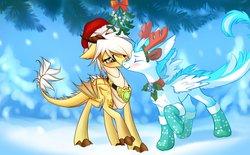 Size: 1133x704   Tagged: safe, artist:xn-d, oc, oc only, oc:arita, oc:patch, dracony, dragon, feathered dragon, hybrid, amulet, antlers, blushing, chest fluff, collar, cool, cute, eyes closed, happy, hat, jingle bells, love, merry christmas, mistletoe, nuzzling, santa hat, snow, snowfall