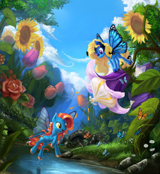 Size: 3750x4078 | Tagged: safe, artist:devinian, oc, oc only, oc:blue peleide, butterfly, butterfly pony, flutter pony, monarch butterfly, pony, bridge, butterfly wings, featured image, flower, flower in hair, flower in tail, flying, frown, looking down, mask, nature, open mouth, raised leg, river, rose, scenery, scenery porn, smiling, sunflower, tiny, tulip, water