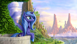 Size: 1944x1111 | Tagged: safe, artist:zigword, princess luna, alicorn, pony, :o, airship, balcony, beautiful, blimp, blushing, bridge, cliff, cloud, cloudy, cute, featured image, female, grass, leaning, looking up, lunabetes, mare, mountain, ocean, river, road, s1 luna, scenery, scenery porn, shore, solo, spread wings, sweet dreams fuel, tower, tree, vine, water, waterfall, wave