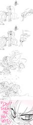 Size: 800x3000 | Tagged: safe, artist:ficficponyfic, artist:reavz, edit, princess celestia, oc, oc:blazing saddles, ask blazing saddles, blushing, collaboration, dialogue, kick, mistletoe, monochrome, tsundere