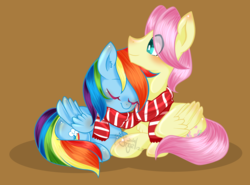Size: 1995x1477 | Tagged: safe, artist:snow angel, fluttershy, rainbow dash, butterdash, butterscotch, clothes, female, flutterdash, half r63 shipping, male, rule 63, scarf, shipping, simple background, straight