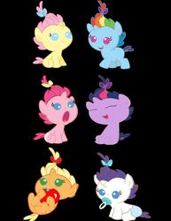 Size: 3432x4448 | Tagged: safe, artist:bronyboy, artist:clonehunter, artist:danton-damnark, artist:fineprint-mlp, artist:oliwia2514, artist:x-discord-x, edit, applejack, cream puff, fluttershy, pinkie pie, pumpkin cake, rainbow dash, rarity, twilight sparkle, pony, unicorn, babity, baby, baby dash, baby pie, baby pony, babyjack, babylight sparkle, babyshy, diaper, eyes closed, filly, foal, mane six, open mouth, pacifier, race swap