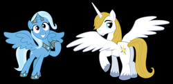 Size: 2256x1104 | Tagged: alicorn, artist:pegasisxd, artist:theshadowstone, bluecorn, bluetrix, female, male, pony, prince blueblood, race swap, safe, shipping, straight, trixie, trixiecorn