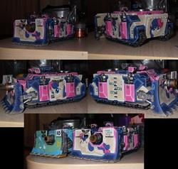 Size: 1514x1440   Tagged: safe, artist:mystia, bon bon, lyra heartstrings, sweetie drops, bolter, citadel miniature, crossover, figurine, gaming miniature, gun, irl, miniature, photo, space marine, storm bolter, tank (vehicle), vehicle, vindicator, warhammer (game), warhammer 40k, weapon