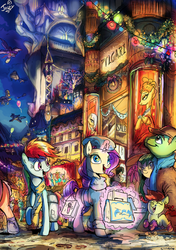 Size: 602x854 | Tagged: safe, artist:jowybean, big macintosh, fluttershy, rainbow dash, rarity, toe-tapper, torch song, oc, earth pony, pony, canterlot, christmas, clothes, male, ponytones, ponytones outfit, scarf, scenery, scenery porn, shopping, stallion