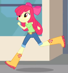 Size: 534x572 | Tagged: apple bloom, boots, clothes, equestria girls, female, music to my ears, rainbow rocks, running, safe, screencap, shoes, short pants, smiling, solo