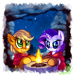 Size: 1025x1050 | Tagged: safe, artist:whitediamonds, applejack, rarity, earth pony, pony, unicorn, campfire, clothes, cold, female, fire, freckles, hatless, lesbian, mare, missing accessory, rarijack, rarijack daily, scarf, shipping, smiling, snow