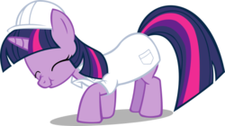 Size: 519x291 | Tagged: safe, artist:kopachris, twilight sparkle, pony, unicorn, .svg available, clothes, eyes closed, female, hard hat, hat, helmet, lab coat, mare, nose wrinkle, request, scrunchy face, simple background, solo, svg, transparent background, vector
