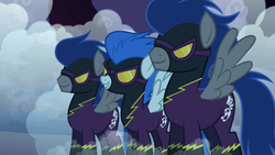 Size: 1280x720 | Tagged: safe, screencap, descent, nightmare moon, nightshade, pegasus, pony, friendship is magic, clothes, costume, disguise, fog, goggles, shadowbolts, shadowbolts (nightmare moon's minions), shadowbolts costume