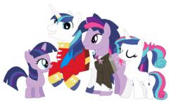 Size: 863x510 | Tagged: safe, artist:hateful-minds, shining armor, twilight sparkle, oc, pony, unicorn, cute, dusk shine, dusk shining, female, filly, gay, half r63 shipping, incest, magical gay spawn, male, mare, offspring, parent:dusk shine, parent:shining armor, parent:twilight sparkle, parents:shining sparkle, product of incest, rule 63, shiningsparkle, shipping, twicest