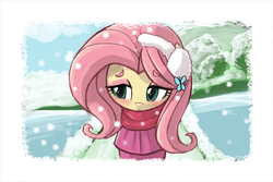 Size: 1280x853 | Tagged: dead source, source needed, safe, artist:lumineko, fluttershy, blushing, clothes, coat, cute, earmuffs, female, shyabetes, smiling, snow, snowfall, solo, winter