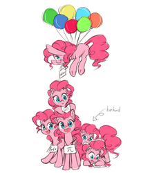 Size: 1280x1477   Tagged: safe, artist:luciferamon, pinkie pie, too many pinkie pies, balloon, cute, diapinkes, floating, pi, plot, self ponidox, smiling, then watch her balloons lift her up to the sky