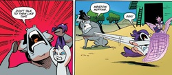 Size: 1397x611 | Tagged: safe, king longhorn, rarity, twilight sparkle, alicorn, bull, pony, idw, spoiler:comic, spoiler:comic26, discussion in the comments, female, magic, mare, raribuse, twilight sparkle (alicorn)