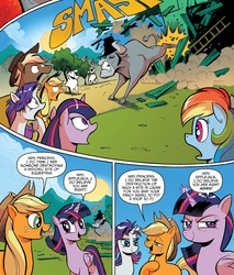 Size: 1397x1639 | Tagged: safe, angus mcsteer, applejack, fluttershy, king longhorn, rainbow dash, rarity, twilight sparkle, alicorn, pony, idw, spoiler:comic, spoiler:comic26, bucking, eyes closed, female, gritted teeth, idw advertisement, magic, mare, messy mane, open mouth, property damage, smiling, smirk, twilight sparkle (alicorn), wide eyes