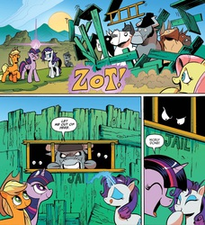 Size: 1395x1527 | Tagged: safe, angus mcsteer, applejack, buffalo bull, doc holstein, fluttershy, jersey shore (character), king longhorn, observer (character), rarity, twilight sparkle, alicorn, bull, earth pony, pegasus, pony, unicorn, idw, spoiler:comic, spoiler:comic26, adventure in the comments, cattle rustlers, comic, female, glowing horn, idw advertisement, jail, magic, male, mare, official comic, speech bubble, teleportation, twilight sparkle (alicorn), zot