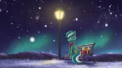 Size: 2400x1350 | Tagged: safe, artist:ardail, lyra heartstrings, pony, unicorn, aurora borealis, bench, clothes, female, lamppost, mare, mountain, night, night sky, present, scarf, sitting, sky, snow, snowfall, solo, streetlight, waiting, winter
