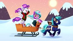 Size: 1345x746 | Tagged: safe, artist:centchi, oc, oc only, oc:blank canvas, oc:hoof beatz, oc:mane event, pony, bronycon, bronycon mascots, christmas, holiday, hoofevent, sleigh, snow, snowfall, winter