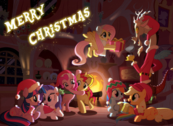Size: 2628x1915 | Tagged: safe, artist:light262, applejack, discord, fluttershy, pinkie pie, rainbow dash, rarity, sunset shimmer, twilight sparkle, alicorn, pony, alternate mane seven, cape, christmas, cider, clothes, earmuffs, female, fire, flying, golden oaks library, hat, holly, hug, mane six, mare, present, santa hat, scarf, snow, snowfall, twilight sparkle (alicorn), winter