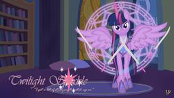 Size: 1024x576 | Tagged: safe, artist:virenth, twilight sparkle, alicorn, pony, armor, female, magic, mare, older, solo, spread wings, sword, telekinesis, twilight sparkle (alicorn)