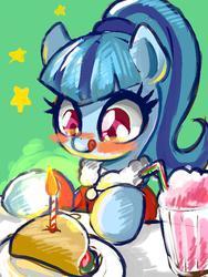 Size: 600x796 | Tagged: safe, artist:susu, sonata dusk, pony, equestria girls, rainbow rocks, candle, equestria girls ponified, female, milkshake, ponified, solo, sonataco, taco