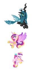 Size: 230x478 | Tagged: safe, artist:hexfloog, princess cadance, queen chrysalis, alicorn, pony, cute, cutealis, cutedance, duo, duo female, eyes closed, female, filly, filly cadance, flying, mare, pixel art, signature, simple background, sprite, teen princess cadance, transparent background, younger