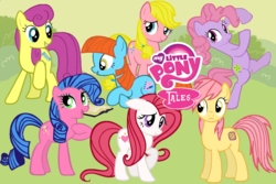 Size: 1200x800 | Tagged: safe, artist:aquaticneon, bon bon (g1), bright eyes, clover (g1), melody, patch (g1), starlight (g1), sweetheart, earth pony, pegasus, pony, g1, my little pony tales, bipedal, g1 to g4, generation leap