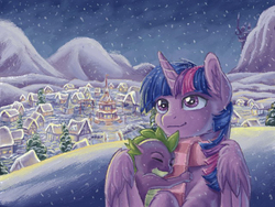 Size: 640x480 | Tagged: safe, artist:the-wizard-of-art, spike, twilight sparkle, alicorn, pony, clothes, female, hug, mama twilight, mare, ponyville, scarf, snow, snowfall, twilight sparkle (alicorn), winghug, winter