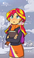Size: 586x1000 | Tagged: dead source, safe, artist:baekgup, sunset shimmer, equestria girls, blushing, book, clothes, cute, female, jacket, journey book, moe, scarf, shimmerbetes, skirt, snow, snowfall, solo, winter